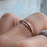 Tiny Feather Stacking Ring - Brass on Silver - custom Made to size