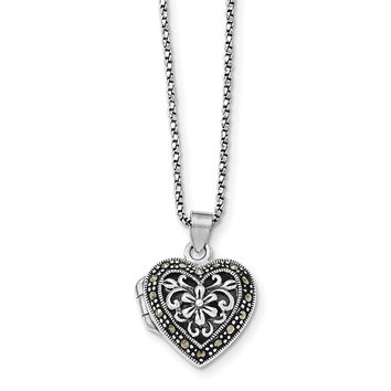 Sterling Silver Marcasite Heart Locket w/Chain Necklace QG1942