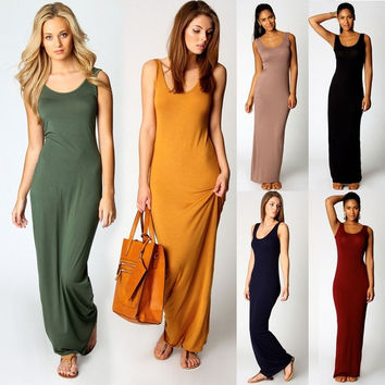 Fashion Women Sleeveless Casual Maxi Tank Dress  Plus Size S M L XL XXL 3XL Summer Style Sexy Dresses = 1696742980