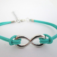 Turquoise Color Leather Infinity Bracelet with Clasp