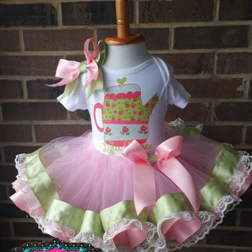 TEA TIME, Vintage tea party lace, Shabby Chic Tutu, Baby Tutu, Photo Prop Tutu, Childrens Toddler Infant Tutu, Birthday