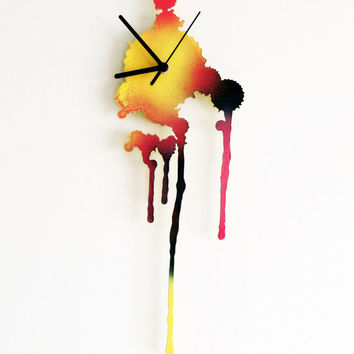 Ink Splatter. Modern Wall Clock. Multicolor Wall Clock. Living Room Decor. Rustic home. Hand painted Clock.