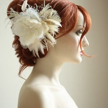 RIVA Unique Bridal Hair Jewelry in IVORY by bridalcouture