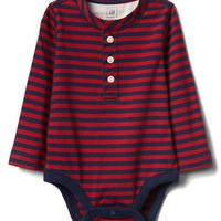 Stripe long sleeve henley bodysuit | Gap