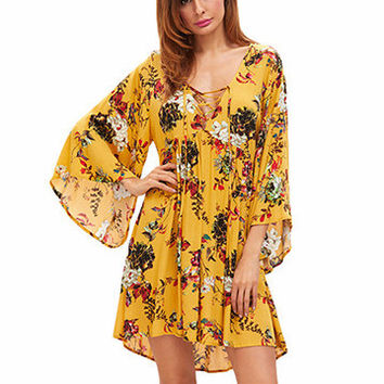 Women Printed Floral Long Sleeve Dress