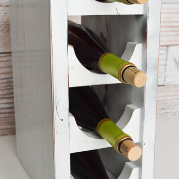 Four Tier Wine Rack, white distressed recycle wood, wine rack, rustic, shabby chic