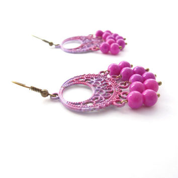 Pink & Purple Boho Chandelier Earrings, Hand Painted