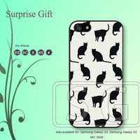 iPhone 5 case iPhone 5c case iPhone 5s case iPhone 4 case iPhone 4s case, iPhone case, Phone case Black cat --S042