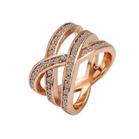Gold Plated Rings for Women Health Nickel Free Golden Austrian Crystal Swarovski Elements, Size 8
