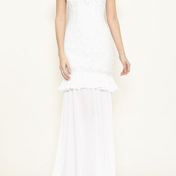 Anastasia White Off the Shoulder Lace Dress