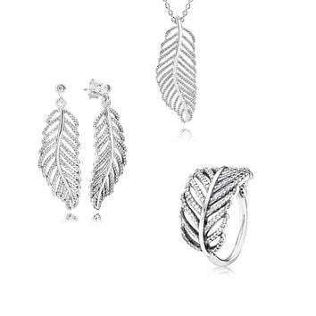 100% 925 Sterling Silver Jewelry Sets Earrings Ring Necklace Sets Light as a Feather Jewelry Sets for Women DIY Making S018