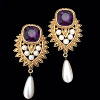 Shaill Jhaveri Imperial Elegance Dangle Earrings Elizabeth Taylor Avon Fx Pearls Amethyst & Red Rhinestone Crystals Clip-on, Gift for Her