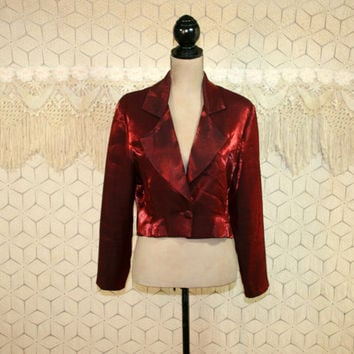 Burgundy Red Cocktail Jacket Cropped Shimmery Iridescent Large XL Womens Jackets Evening Jacket Perren London Plus Size Vintage Clothing