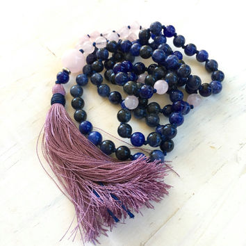 Blue Sodalite Knotted Mala Beads, Purple Tassel Mala Necklace, Hand Knotted Meditation Beads, 108 Bead Tassel Mala, Yoga Meditation Beads