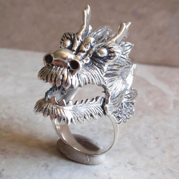 Dragon Ring Sterling Silver Hinged Jaw Large Size 11 12 Fuchur Luck Dragon Vintage CW0091