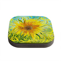 "Catherine Holcombe ""Sunflower Symphony"" Yellow Green Coasters (Set of 4)"