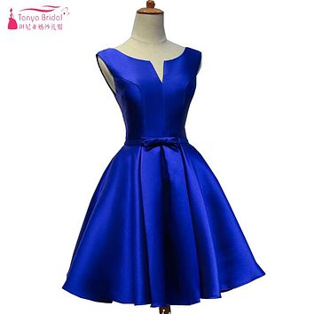 In Stock Short Bridesmaids Dresses V-Neck A Line Satin Wedding Guest Dresses Royal Blue Maid Of Honor Vestidos  ZP019