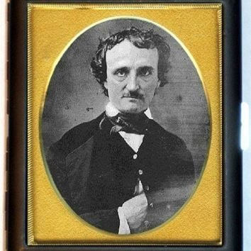 Edgar Allan Poe Daguerreotype PHOTO Vintage Style Business Card Case or Cigarette Case Wallet