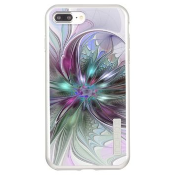 Colorful Fantasy Abstract Modern Fractal Flower Incipio DualPro Shine iPhone 7 Plus Case