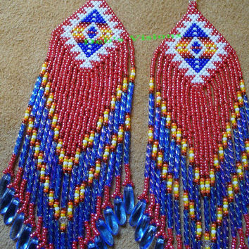 Native American inspired brick stitched Independance day shoulder duster earrings