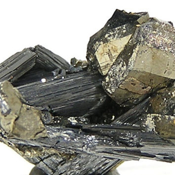 Jamesonite Bladed Crystals with Golden Pyrite Thumbnail Mineral Specimen from Mexico mined in the 1980's