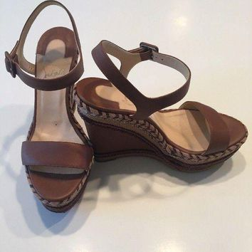PEAPONDB Christian Louboutin Brown Platform Espadrille Wedge Sandals 38