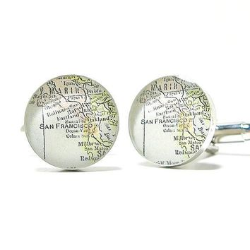 No. 02 San Francisco CA Antique Map Cufflinks