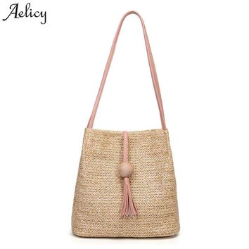 Aelicy Summer Women Durable Weave Straw Beach Bag Feminine Woven Bucket Bag Grass Casual Tote Handbags Knitting Rattan Bags