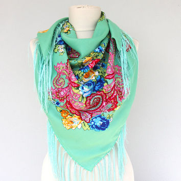 Russian scarf Ukrainian shawl floral scarf mint green fringe scarf square winter scarf women fashion accessories gift for her
