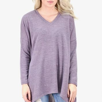Hi-Lo Loose Fit Pocket Sweater Tunic {H. Purple}