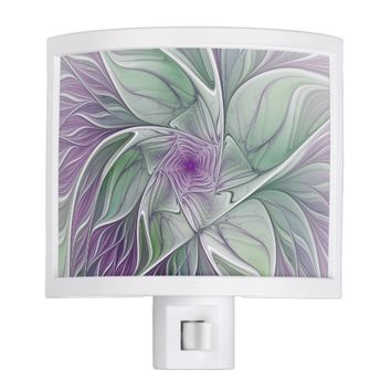 Flower Dream, Abstract Purple Green Fractal Art Night Light