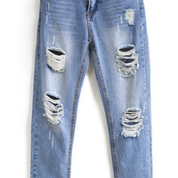 Blue Bleached Ripped Pockets Denim Pant -SheIn(Sheinside)