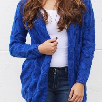 ONETOW Dark Blue Plain Collarless Streetwear Acrylic Cardigan Sweater Day-First?