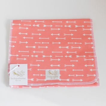 Organic Burp Cloth, coral arrow