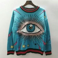 GUCCI Women Fashion Eye Knit Top Sweater Pullover