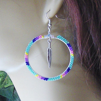 Hoop Earrings Beaded With Glass Seed Beads And A Feather Center Dangle/Gypsy Earrings/Boho Earrings/Accessories/Jewelry/Feather Charm