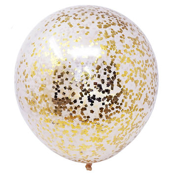 "6 Metallic Gold Flakes Confetti Balloons 18"" DIY Kit 50g Confetti Party Decor"