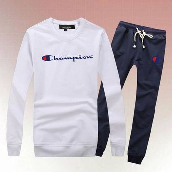 PEAPS Champion Woman Men Long Sleeve Shirt Top Tee Pants Trousers Set Two-Piece Sportswear