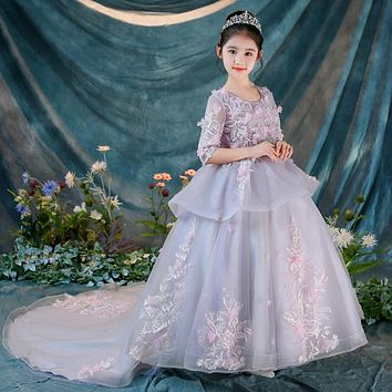 Girl's Ball Gown w/ Train Flower Wedding Princess Flower Girl Appliques Dress+Crown+Bustle