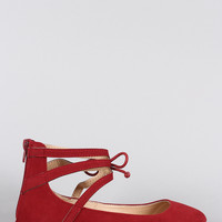 Misbehave Suede Ankle Cuff Round Toe Ballet Flat