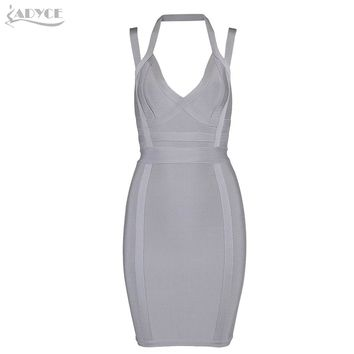 Adyce 2017 New Summer Dress Women Sexy Spaghetti Strap V Neck Prom Party Dresses Bodycon Vestidos Rayon Celebrity Bandage Dress