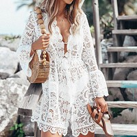 New Women's Sexy Lace Long Sleeve V-Collar Dress