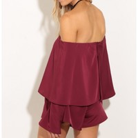 Rompers/Jumpsuits > Layered Romper In Burgundy