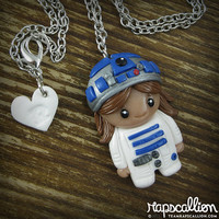 R2D2 Girl Polymer Clay Necklace