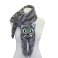 Knitted Scarf /  Fuzzy Soft Scarf / grey / cat scarf / knited cat scarf / scarf / animal scarf / Tabby cat / Scottish  cat