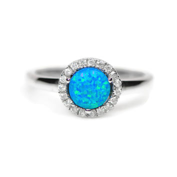 Sterling Silver Blue Opal and CZ Halo Ring