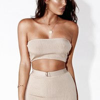 Taupe Must Have Ribbed Bandeau