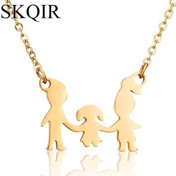 SKQIR New Arrival Family Pendant Necklaces Fashion Gold Chain Stainless Steel Women Three Figure Pendants Best Friends Jewelry