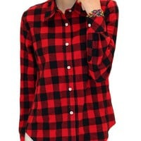 King Ma Women's Fashion Check Flannel Shirt (Chinese M, Red & Black)