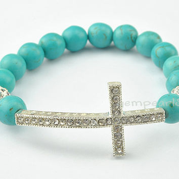 Turquoise Bracelet Sideways Cross Bracelet Wedding by GemPearls